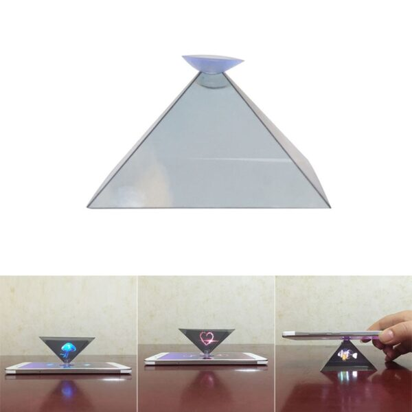 Dropshipping 3D Hologram Pyramid Display Projector Video Stand Universal For Smart Mobile Phone 8899 2