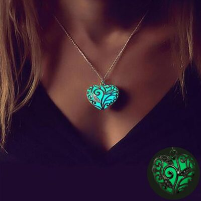 FAMSHIN Bohemia Silver Color Luminous Stone Heart Pendant Necklace Fashion Women Halloween Hollow Necklace Jewelry Gifts 400x400 1