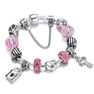 HOMOD Authentic Silver Plated 925 Crown Beads Key Crystal Heart Charm Bracelet Fits Pandora Bracelet For 4.jpg 640x640 4