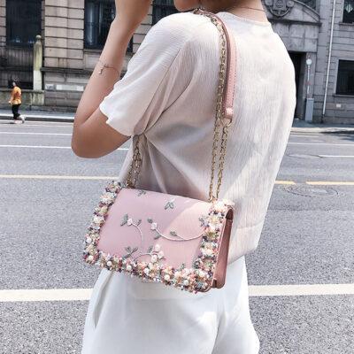 Lace Flowers Women bag 2018 New handbag High quality PU Leather Sweet Girl Square bag Flower 2