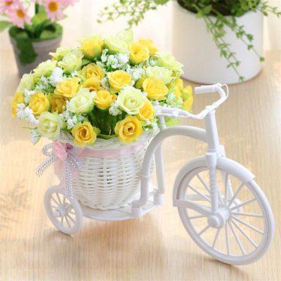 Artificial flowers Silk Roses plastic bicycle desktop decorative Rose bonsai plant Fake flowers for Wedding decorative 1 400x400 1