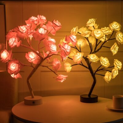 Led lamp Rose Flower Tree Shape USB Port and Battery Powered Decorative LED Table Lights Parties
