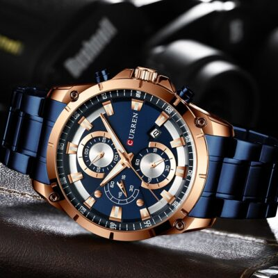 CURREN New Fashion Mens Watches with Stainless Steel Top Brand Luxury Sports Chronograph Quartz Watch Men 4