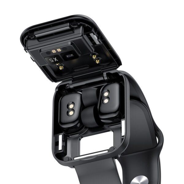 X5 smart watch TWS Bluetooth headset 2 in 1 HIFI music watch heart rate blood pressure 4