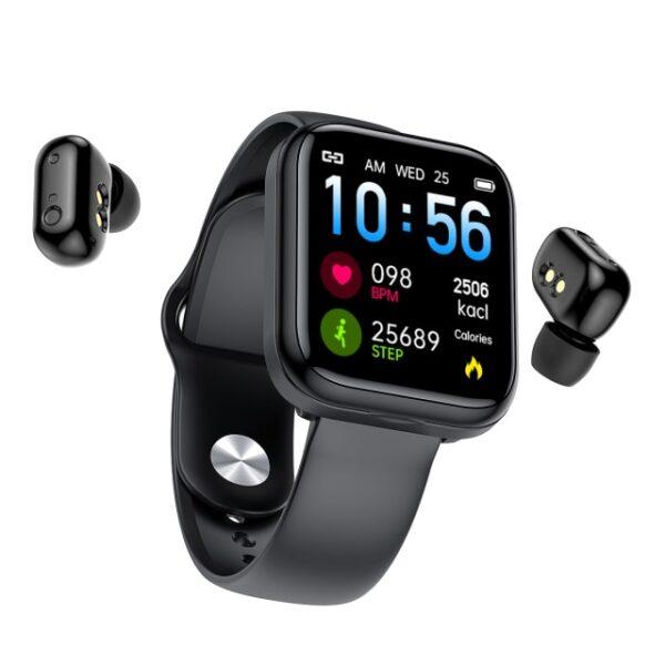X5 smart watch TWS Bluetooth headset 2 in 1 HIFI music watch heart rate blood