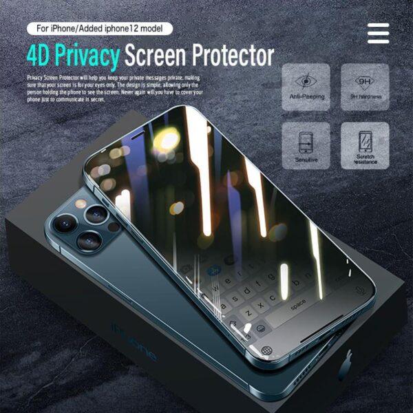 4D Privasi Pelindung Layar Pikeun iPhone 12 11 Pro Max XS MAX XR Anti nenjo Peep