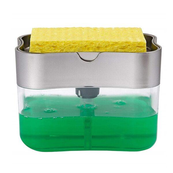 2 in 1 Scrubbing Liquid Detergent Dispenser Press type Liquid Soap Box Pump Organizer with Sponge 2