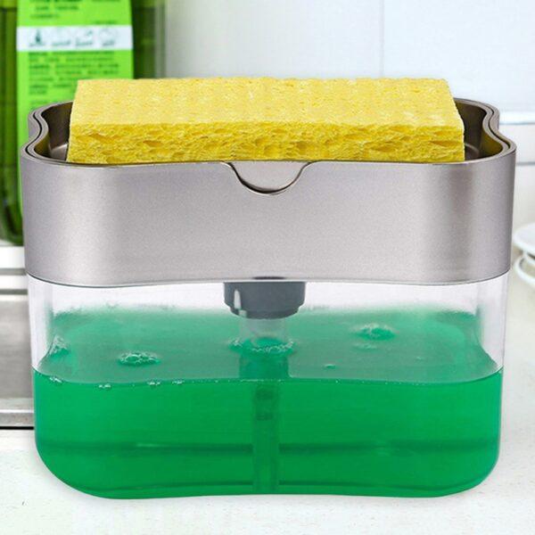 2 in 1 Scrubbing Liquid Detergent Dispenser Press type Liquid Soap Box Pump Organizer with Sponge