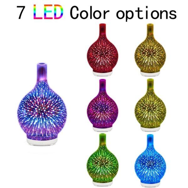 3D -феерверк, шкляны ўвільгатняльнік паветра з 7 -м колерам, святлодыедным дыфузарам эфірнага алею з начным святлом 3