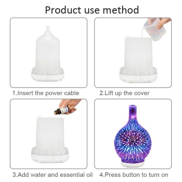 3D -феерверк, шкляны ўвільгатняльнік паветра з 7 -м колерам, святлодыедным дыфузарам эфірнага алею з начным святлом 4