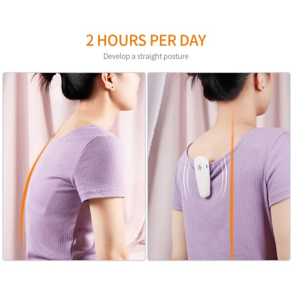 Adjustable posture Corrector Smart Vibration Chiyeuchidzo Yekudzidzisa Kurwadziwa Ruregereso kumashure Brace Mapfudzi Tsigiro YeVarume uye 4