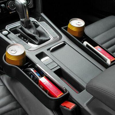 Car Seat Gap Slit Pocket Catcher Organizer PU Leather Storage Box Phone Bottle Cups Holder Auto