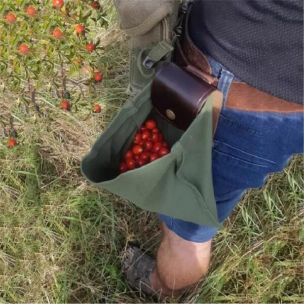 Скураная і палатняная сумка для сумкі Палатняная сумка для здабывання скарбаў Ракавіны Лёгкая пятля з рамянямі 1