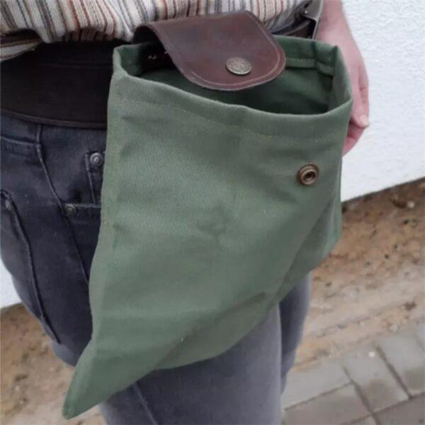 Скураная і палатняная сумка для сумкі Палатняная сумка для здабывання скарбаў Ракавіны Лёгкая пятля з рамянямі 2