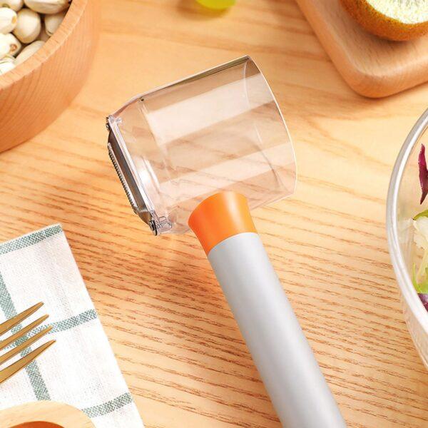 Pelapatate in acciaio con scatola di immagazzinaggio buccia di frutta per verdure da cucina per utensili 3
