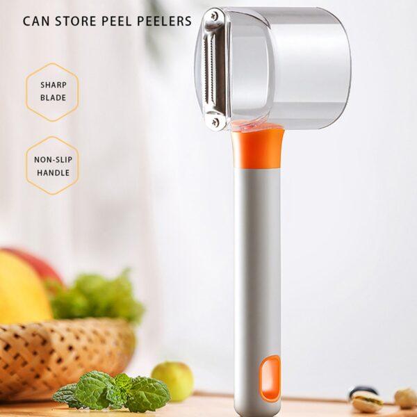 Pelapatate in acciaio con scatola di immagazzinaggio buccia di frutta per verdure da cucina per utensili