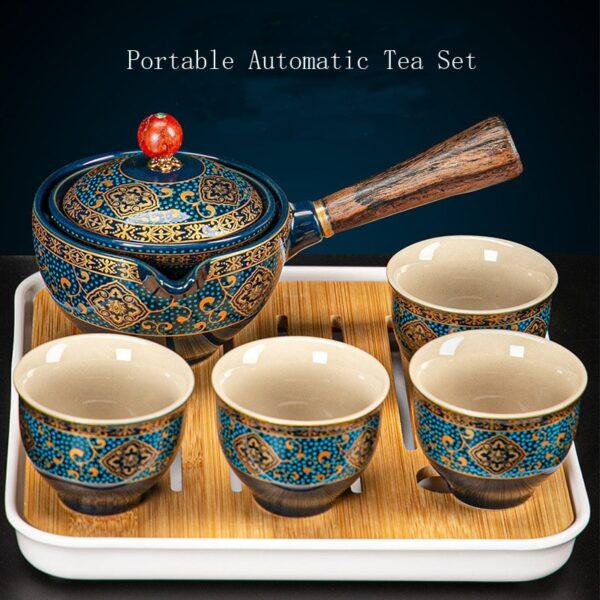 Nkehang habobebe Flower phethehileng Chinese Gongfu Kung Fu Tea Set Ceramic Teapot W Wooden Handle Side mohele 1