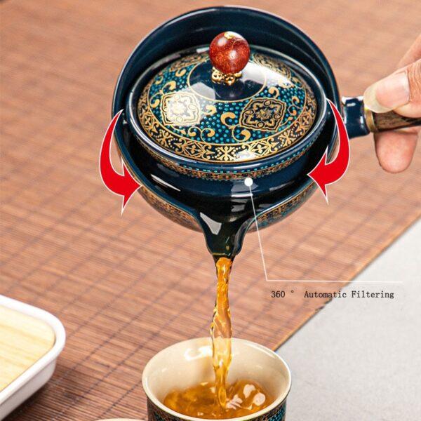 Nkehang habobebe Flower phethehileng Chinese Gongfu Kung Fu Tea Set Ceramic Teapot W Wooden Handle Side mohele 2