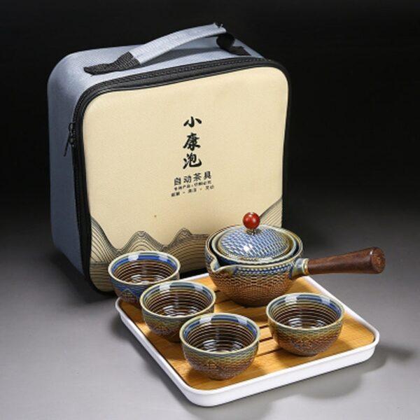 Nkehang habobebe Flower phethehileng Chinese Gongfu Kung Fu Tea Set Ceramic Teapot W Wooden Handle Side mohele 3