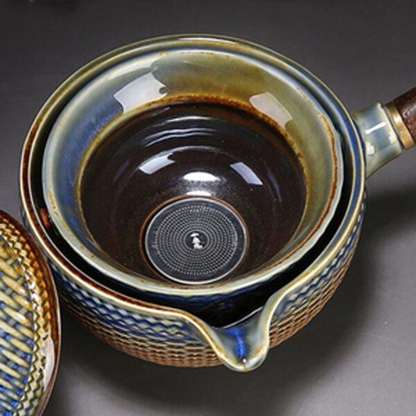 Nkehang habobebe Flower phethehileng Chinese Gongfu Kung Fu Tea Set Ceramic Teapot W Wooden Handle Side mohele 4