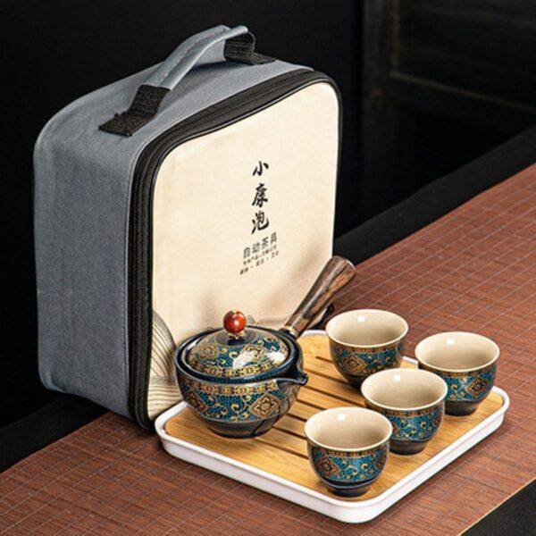 Nkehang habobebe Flower phethehileng Chinese Gongfu Kung Fu Tea Set Ceramic Teapot W Wooden Handle Side mohele 5