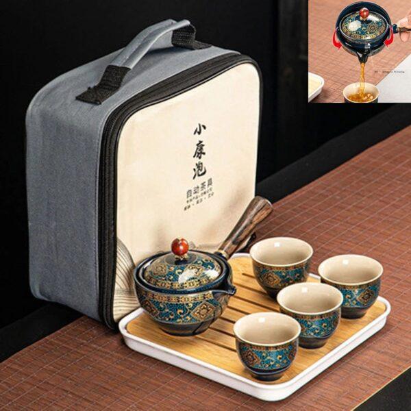 Palesa e Khabisang e Phethahetseng ea China Gongfu Kung Fu Tea e Setse Ceramic Teapot W Wooden Handle Side handle