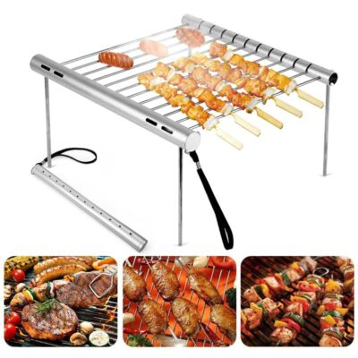 Portable Stainless Steel BBQ Grill Folding BBQ Grill Mini Pocket BBQ Grill Barbecue Accessories For Home 5