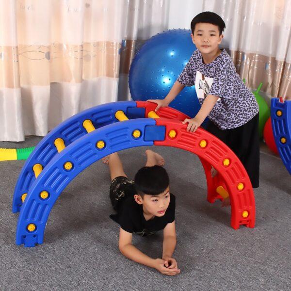 TT Kindergarten Niños s Aptitud física Equipo de entrenamiento sensorial Cuarto de ronda Padres e hijos Jardín Madera Surf 2