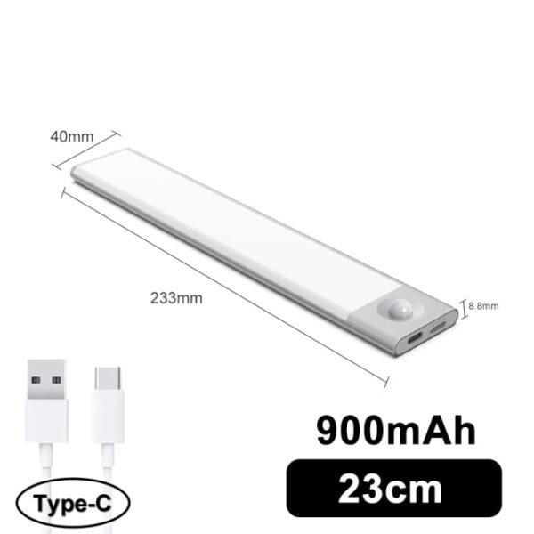 Favágó Ultra vékony LED mozgásérzékelő a szekrény fényei alatt C típusú USB töltő éjszakai lámpa 2.jpg 640x640 2