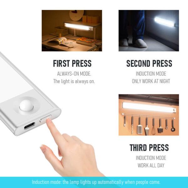 Fa szemű ultra vékony LED mozgásérzékelő a szekrény fényei alatt C típusú USB töltő éjszakai lámpa 3