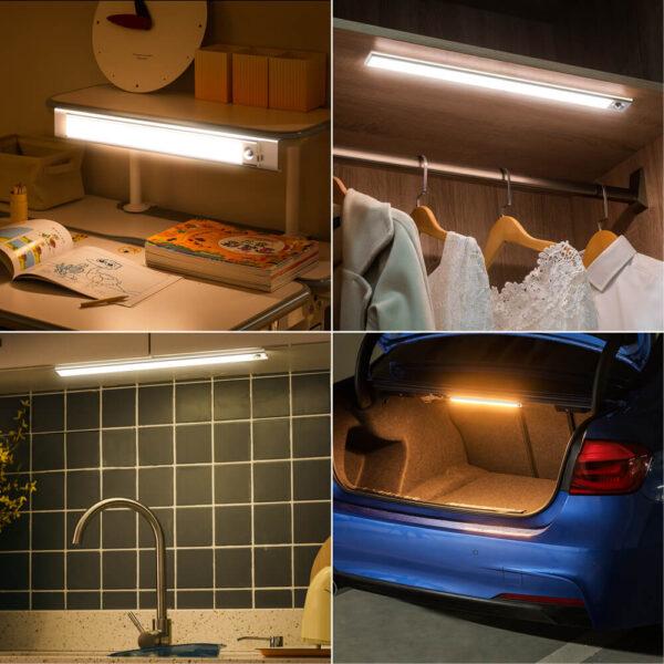 Fa szemű ultra vékony LED mozgásérzékelő a szekrény fényei alatt C típusú USB töltő éjszakai lámpa 5