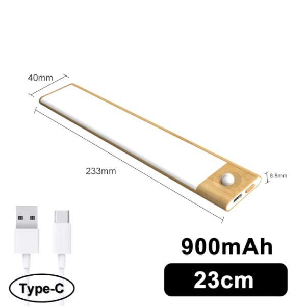 Favágó Ultra vékony LED mozgásérzékelő a szekrény fényei alatt C típusú USB töltő éjszaka