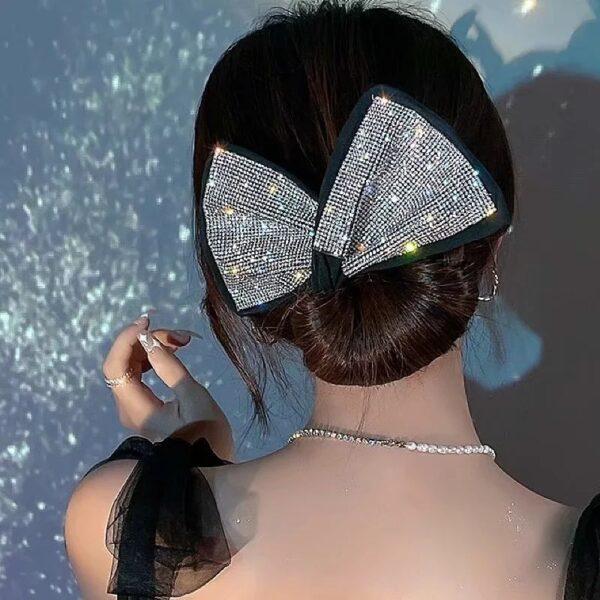 Sabuwar Shinny Rhinestone Deft Bun headband don Matan Yan mata Salon Gashi Na Karɓar Vintage Updo Riƙen Ponytail