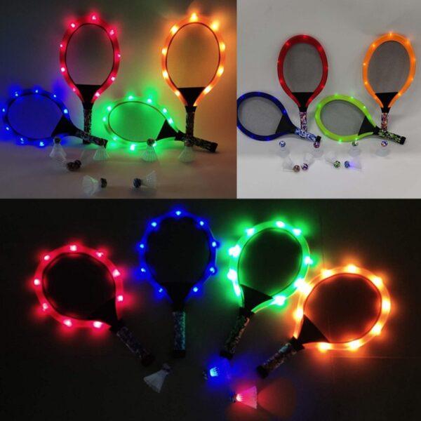 Outdoor Toys Flash Badminton Tennis Racket Set with Flash badminton Kids Outdoor Game Parent child interactive
