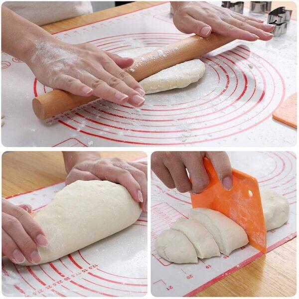 मापन रसोई के साथ सिलिकॉन पेस्ट्री मैट नॉन स्टिक बेकिंग सानना आटा चटाई पेस्ट्री कलाकंद रोलिंग पैड 4