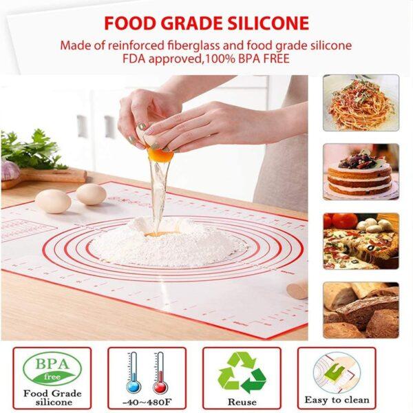मापन रसोई के साथ सिलिकॉन पेस्ट्री मैट नॉन स्टिक बेकिंग सानना आटा चटाई पेस्ट्री कलाकंद रोलिंग पैड 5